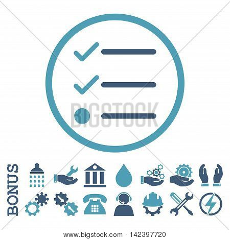 Checklist vector bicolor icon. Image style is a flat pictogram symbol inside a circle, cyan and blue colors, white background. Bonus images are included.
