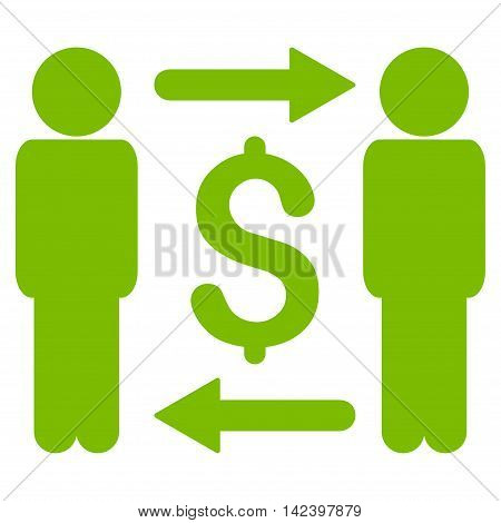 Money Changers icon. Vector style is flat iconic symbol with rounded angles, eco green color, white background.