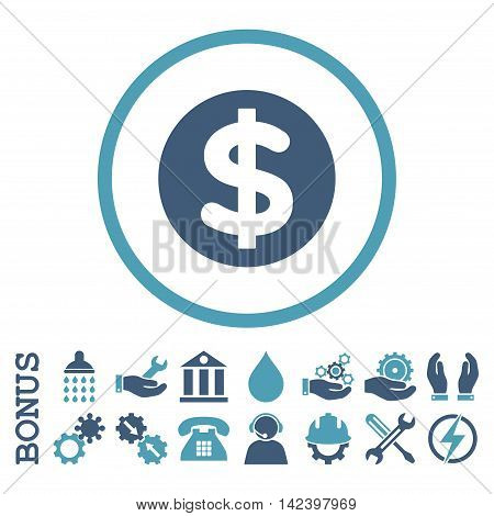 Finance vector bicolor icon. Image style is a flat pictogram symbol inside a circle, cyan and blue colors, white background. Bonus images are included.