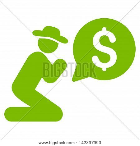 Pray for Money icon. Vector style is flat iconic symbol with rounded angles, eco green color, white background.