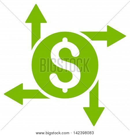 Spend Money icon. Vector style is flat iconic symbol with rounded angles, eco green color, white background.