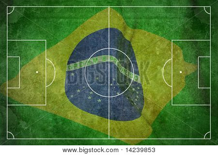 Grunge football field texture background of Brasil flag