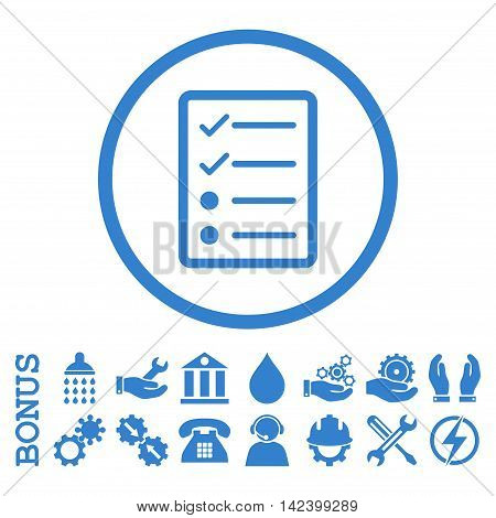 Checklist Page vector icon. Image style is a flat pictogram symbol inside a circle, cobalt color, white background. Bonus images are included.