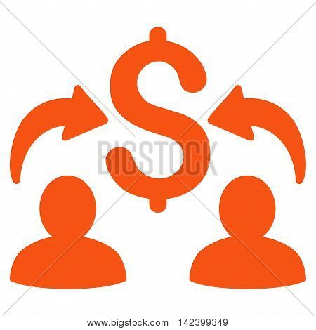 Money Changers icon. Vector style is flat iconic symbol with rounded angles, orange color, white background.