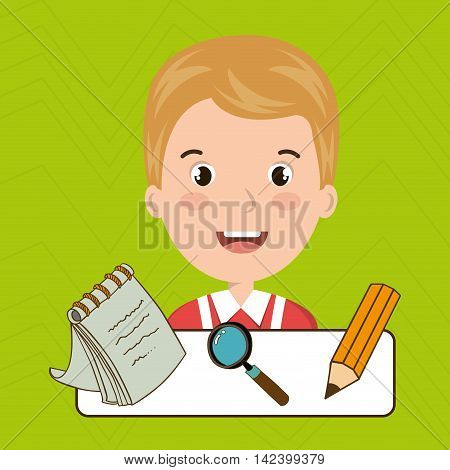 student pencil notepad search vector illustration graphic
