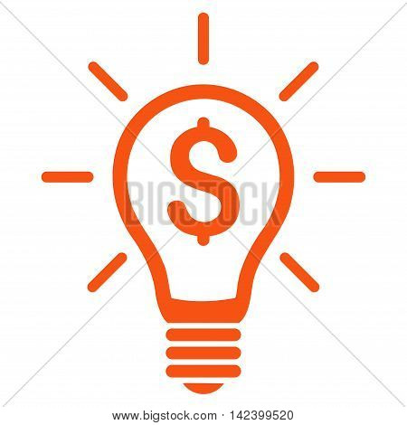 Profitable Invention icon. Vector style is flat iconic symbol with rounded angles, orange color, white background.