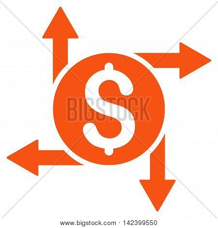Spend Money icon. Vector style is flat iconic symbol with rounded angles, orange color, white background.