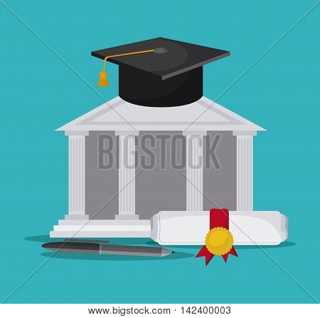 graduation cap diploma pen building graduate university icon, Vector illustration