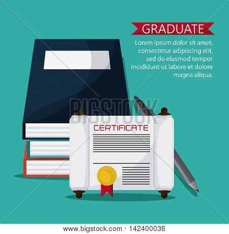 graduation cap diploma book pen graduate university icon, Vector illustration