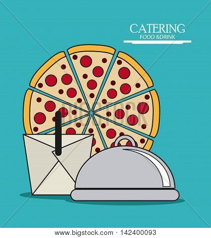 pizza plate box catering service menu food icon, Vector illustration