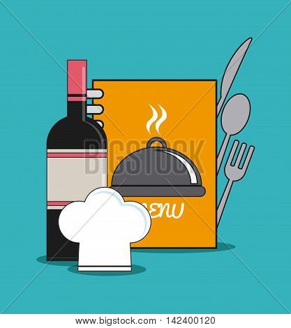 bottle book cutlery plate chefs hat catering service menu food icon, Vector illustration
