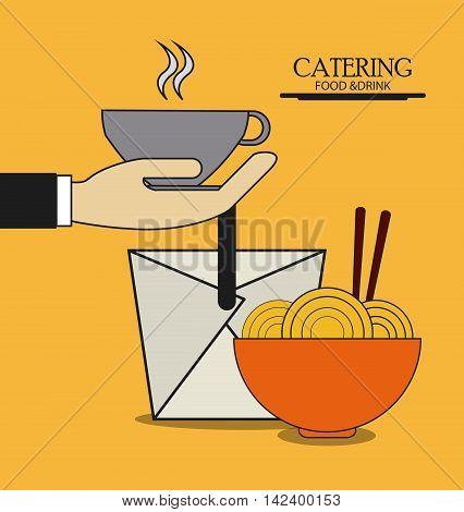 box mug noodle catering service menu food icon, Vector illustration