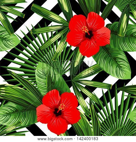Print summer exotic jungle plant tropical palm leaves and flower red hibiscus. Pattern seamless floral vector on the black white geometric background. Nature wallpaper.