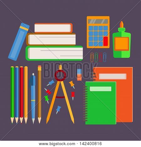Set of school supplies, office supplies, a stack of book. Back to school.