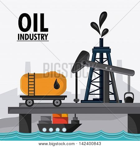 sea container ship oil pump industry production petroleum icon, vector illustration