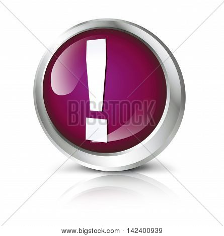 Glossy icon or button with exclamation point symbol. 3D illustration