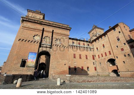 FERRARA, ITALY - APRIL 2, 2014: View of Castello Estense on April 2, 2014 in Ferrara, Italy. This historic castle is a landmark and unesco world heritage in Italy.
