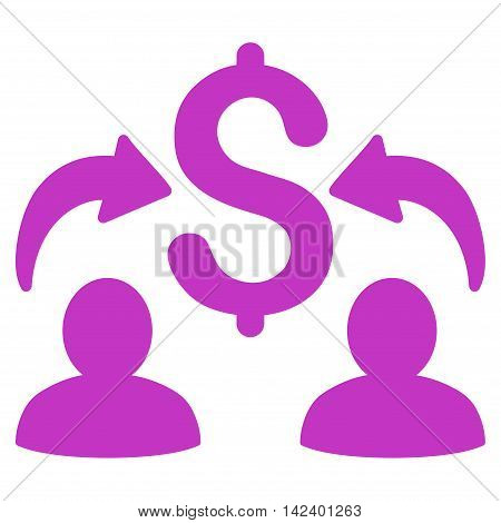 Money Changers icon. Vector style is flat iconic symbol with rounded angles, violet color, white background.