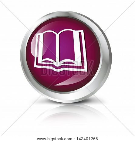 Glossy icon or button with education or book  symbol. 3D illustration