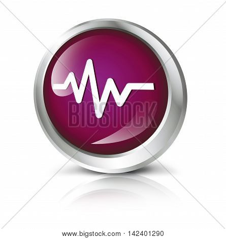 Glossy icon or button with cardiology symbol. 3D illustration