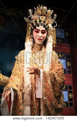 HONG KONG - JUNE 9, 2016 : Cantonese opera dummy with traditional makeup on June 9, 2016 in Hong Kong. Originating in southern China, Cantonese opera is a popular theatrical art in Hong Kong.