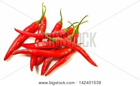Chili spur pepper (Cayenne pepper long red pepper spur pepper) on white background