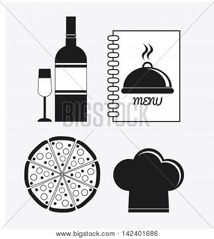 wine bottle cup pizza chefs hat book catering service menu food icon. Silhouette illustration