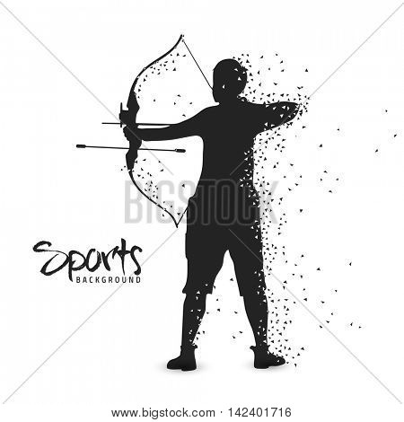 Sports Background with silhouette of Archery Player, Can be used as Poster, Banner or Flyer design.
