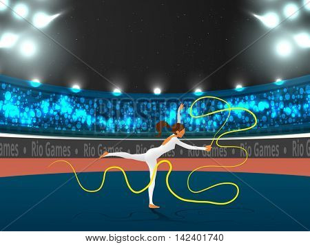 Illustration of a Girl doing Rhythmic Gymnastics with ribbon on shiny stadium background for Sports concept.