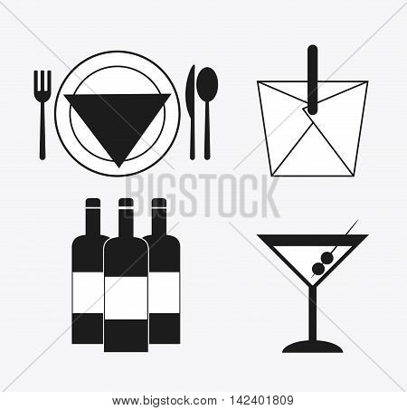 cutlery plate box cocktail bottle wine catering service menu food icon. Silhouette illustration
