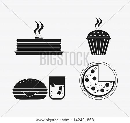 cake hamburger soda muffin pizza catering service menu food icon. Silhouette illustration