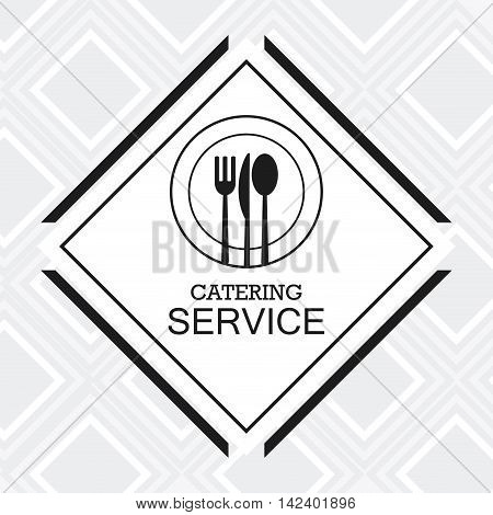 cutlery plate catering service menu food icon. Silhouette illustration