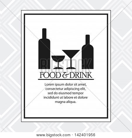 wine bottle cup catering service menu food icon. Silhouette illustration