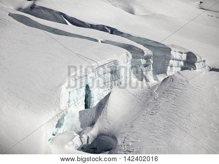 beautiful white glacier of Jungfraujoch in Switzerland