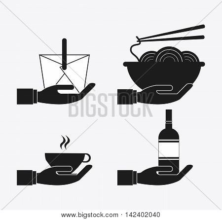 box noodle bottle mug hand catering service menu food icon. Silhouette illustration
