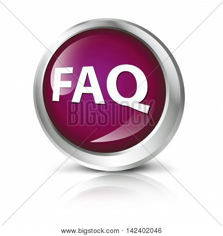 Glossy icon or button with FAQ symbol. 3D illustration