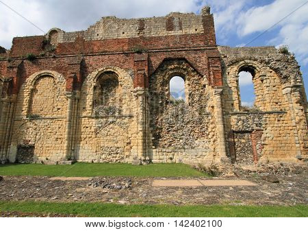 ancient ruins of Canterbury abbey in southern England