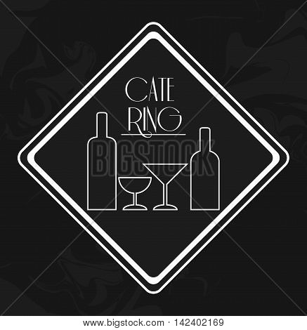 wine bottle cup catering service menu food icon. Silhouette illustration. Grunge background