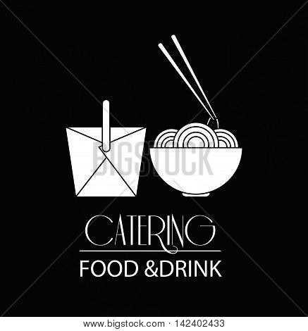 noodle box catering service menu food icon. Silhouette illustration