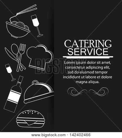 wine noodle cutlery plate hamburger chefs hat catering service menu food icon. Silhouette illustration
