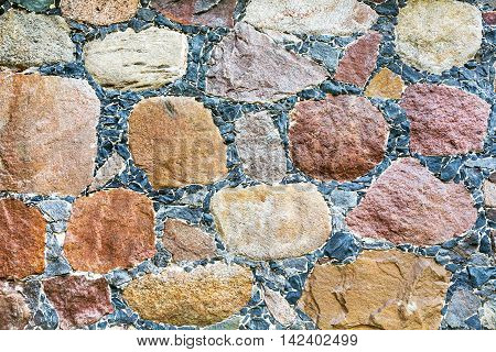 Masonry Wall Texture With Various Colors Stones