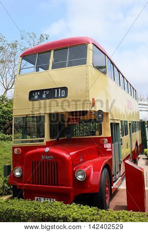 HONG KONG - APRIL 5, 2015: Retired historic red bus from Kowloon Motor Bus Company on April 5, 2015 in Hong Kong.