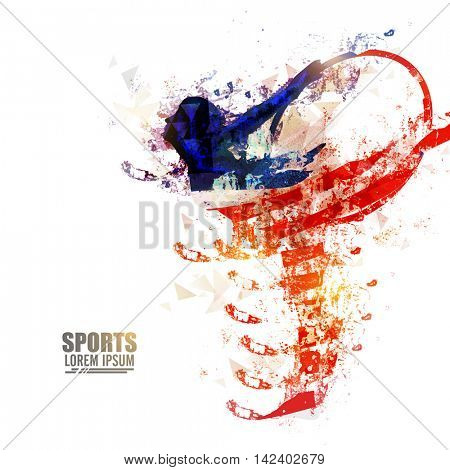 Creative abstract illustration of a girl doing Rhythmic Gymnastics with Hoop for Sports concept.