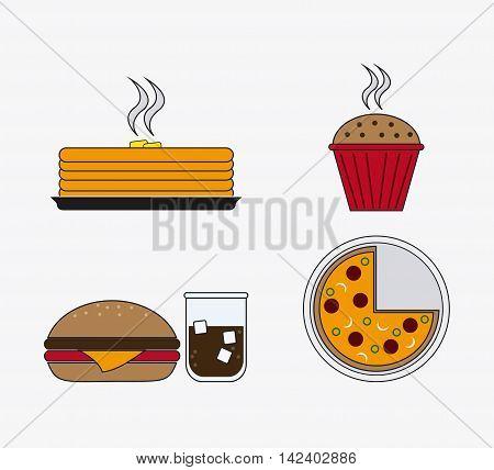cake hamburger soda muffin pizza catering service menu food icon
