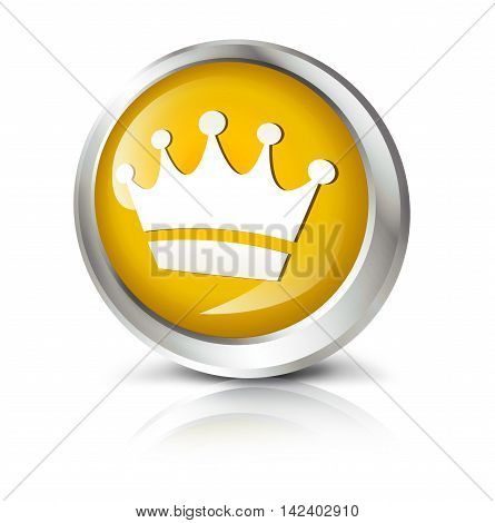 Glossy icon or button with crown symbol. 3D illustration