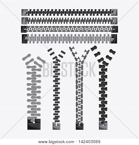Zip zipper cloth metal teeth icon set. Isolated and flat illustration.