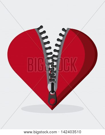 Zip zipper heart cloth metal teeth icon. Isolated and flat illustration.
