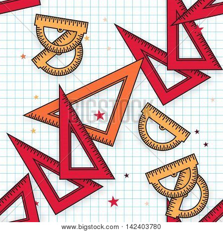 Colorful Triangle and Protractor Ruler background. Back to school symbol. Office Supply Objects. Vector illustration.