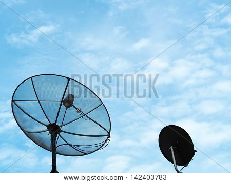 The satellite dish facing to the sky for get TV signal.