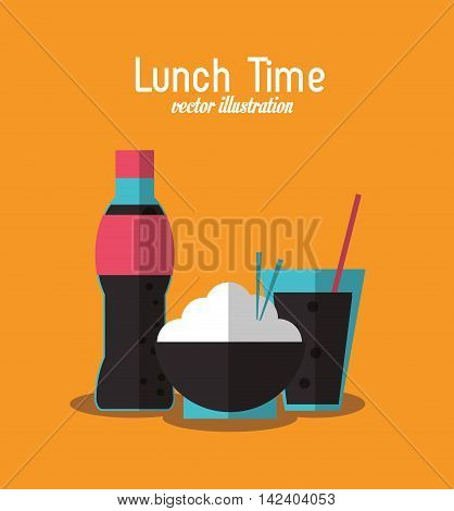 soda rice coke lunch time menu icon. Colorfull and flat illustration, vector